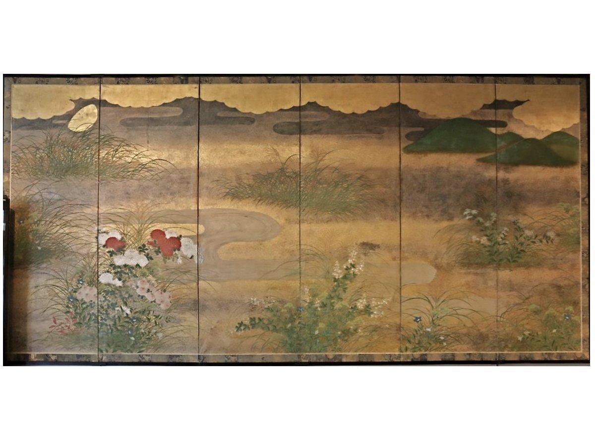 paravent japonais six panneaux de l 39 cole rimpa xixe si cle. Black Bedroom Furniture Sets. Home Design Ideas