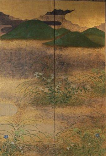 19th century - Japanese 6-Panel Screen of Rimpa School