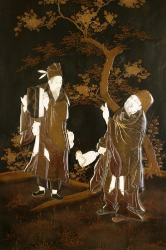 Lacquerd Panel of 2 Scholars - Asian Art & Antiques Style