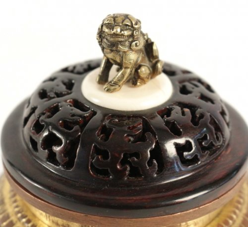 Asian Art & Antiques  - Tripod Incense Burner in Bronze Black and Gold 17th Century