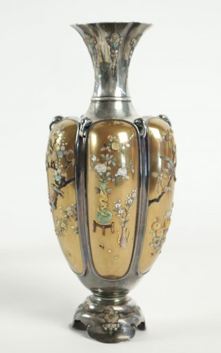 Rare Pair of Silver Vases in Shibayama Inlaid by Masatsugu -