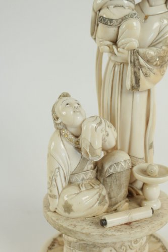 Asian Art & Antiques  - Beautiful Ivory Okimono of a Woman and Child