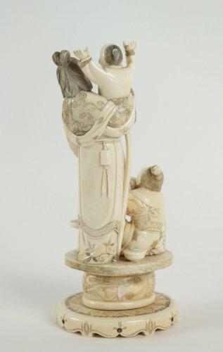 Beautiful Ivory Okimono of a Woman and Child -