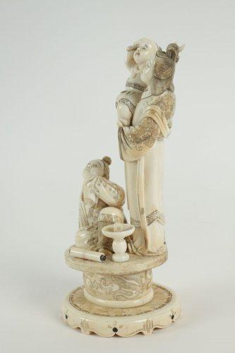 - Beautiful Ivory Okimono of a Woman and Child