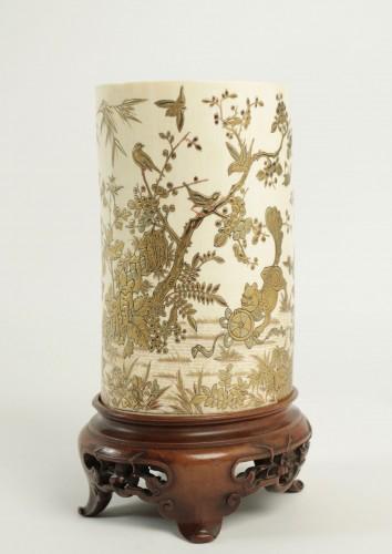 An Ivory Tusk Vase - Asian Art & Antiques Style
