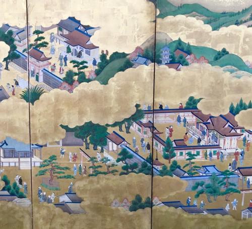 "Japanese Screen ""Genji Monogotari"" - Asian Art & Antiques Style"