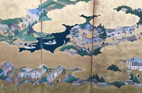 "Asian Art & Antiques  - Japanese Screen ""Genji Monogotari"""