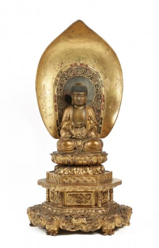 Fine Wooden Gold Lacquer Buddha