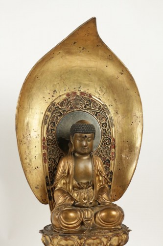 19th century - Fine Wooden Gold Lacquer Buddha