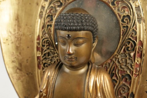 Fine Wooden Gold Lacquer Buddha -