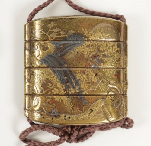 Asian Art & Antiques  - Gold Lacquered 3-Case Inro with Monkeys and Waterfall Decoration