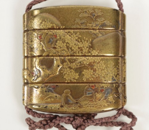 Gold Lacquered 3-Case Inro with Monkeys and Waterfall Decoration -