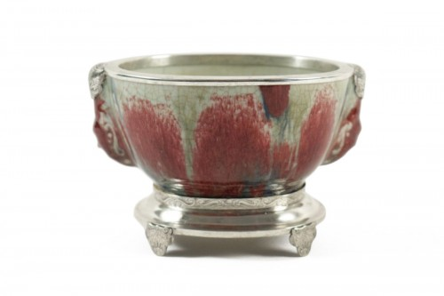 Chinese Cup in sandstone and Flamed Enamels on a silver stand