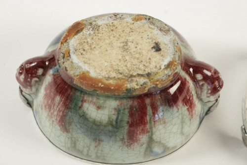 - Chinese Cup in sandstone and Flamed Enamels on a silver stand
