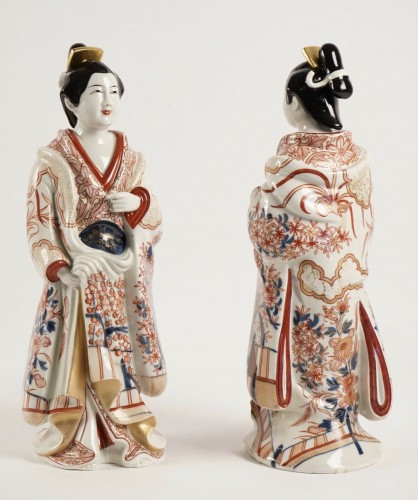 Two Japanese Bijin in Imari Enamels Porcelain -