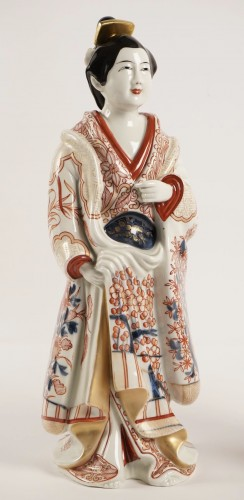 - Two Japanese Bijin in Imari Enamels Porcelain
