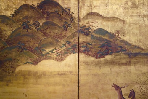 2-panel screen in ink and pigments of colors - Asian Art & Antiques Style