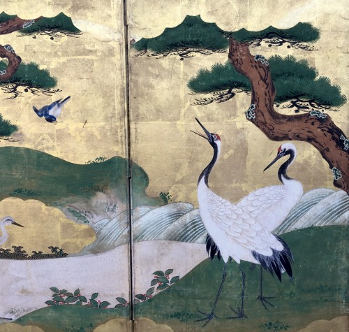 6-Panel Screen with Cranes - Kano School - Asian Art & Antiques Style