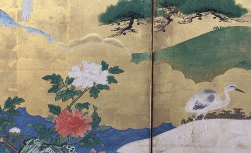 Asian Art & Antiques  - 6-Panel Screen with Cranes - Kano School