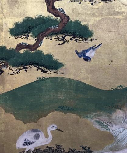 19th century - 6-Panel Screen with Cranes - Kano School