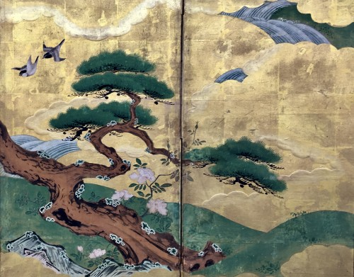 6-Panel Screen with Cranes - Kano School -