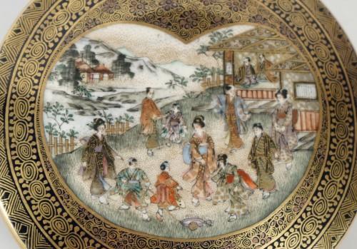 Asian Art & Antiques  - Covered Earthenware Box from Satsuma - Kinkozan
