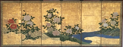 6-Panel Screen with peonies and Butterflies