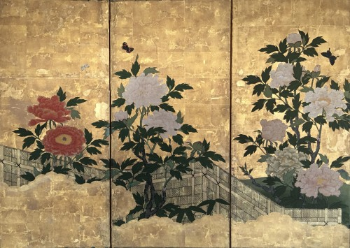 6-Panel Screen with peonies and Butterflies - Asian Art & Antiques Style