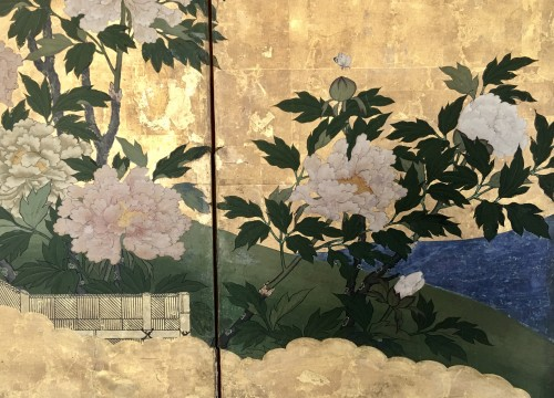 Asian Art & Antiques  - 6-Panel Screen with peonies and Butterflies