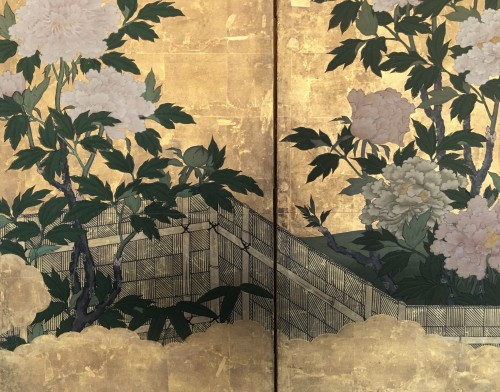 6-Panel Screen with peonies and Butterflies -