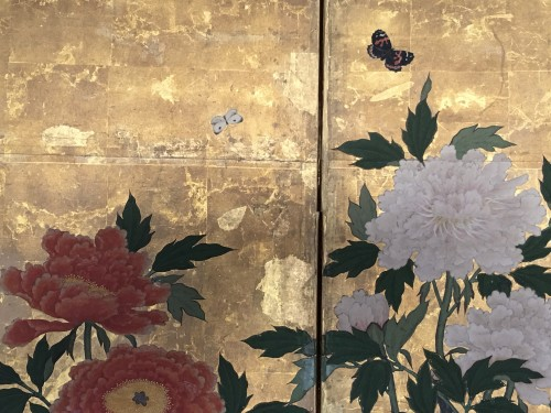 - 6-Panel Screen with peonies and Butterflies
