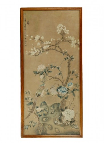 Large Silk Chinese Painting Framed