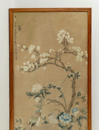 Large Silk Chinese Painting Framed - Asian Art & Antiques Style