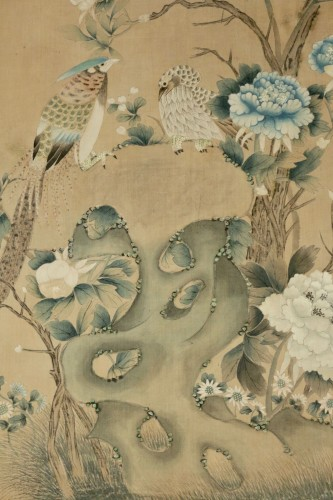 19th century - Large Silk Chinese Painting Framed