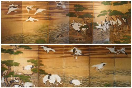 Rare Pair of Japanese 6-Panel Screen of Cranes and Umbrella Pine Trees