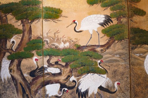 Asian Art & Antiques  - Rare Pair of Japanese 6-Panel Screen of Cranes and Umbrella Pine Trees