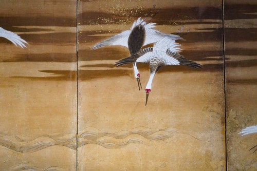 Rare Pair of Japanese 6-Panel Screen of Cranes and Umbrella Pine Trees -
