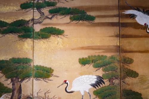 17th century - Rare Pair of Japanese 6-Panel Screen of Cranes and Umbrella Pine Trees