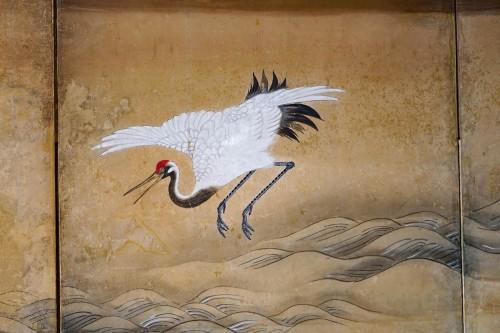 - Rare Pair of Japanese 6-Panel Screen of Cranes and Umbrella Pine Trees