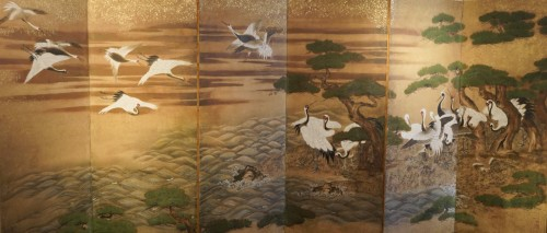 Rare Pair of Japanese 6-Panel Screen of Cranes and Umbrella Pine Trees - Asian Art & Antiques Style