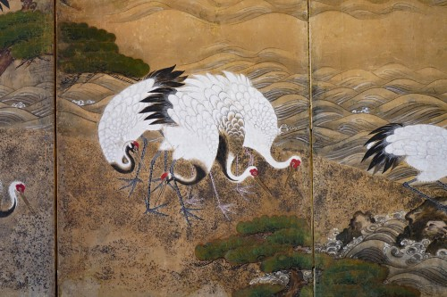 17th century - Rare Pair of Japanese 6-Panel Screen of Cranes and Umbrella Pine Trees