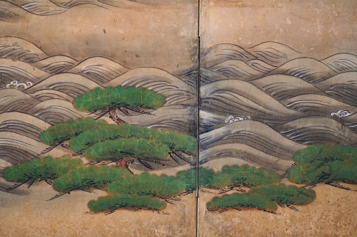 - Rare Pair of Japanese 6-Panel Screen of Cranes and Umbrella Pine Trees