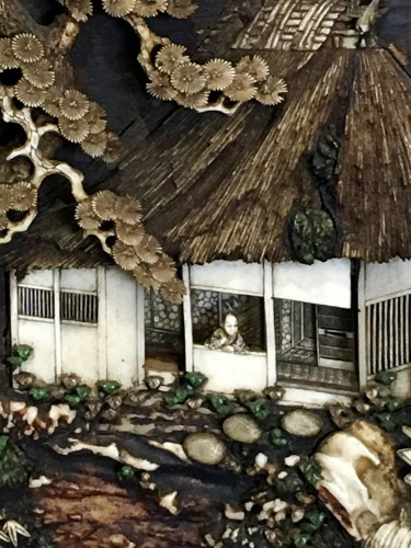 Asian Art & Antiques  - Decorative Panel of a Cottage on an Island