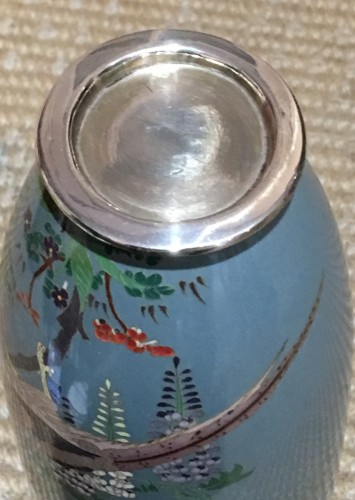 Cloisonne vase with peacock decoration -