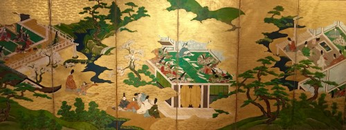 "Japanese 6-Panel Screen ""Genji Monogotari"" - Edo 17/18th"