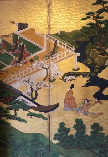 "Japanese 6-Panel Screen ""Genji Monogotari"" - Edo 18th - Asian Art & Antiques Style"