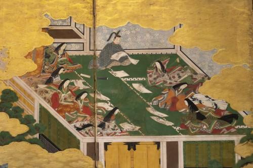 "Asian Art & Antiques  - Japanese 6-Panel Screen ""Genji Monogotari"" - Edo 18th"
