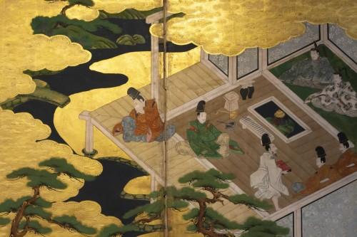 """18th century - Japanese 6-Panel Screen """"Genji Monogotari"""" - Edo 18th"""