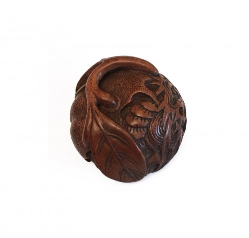 Netsuke d'un dragon et citrouille with a Masanao Signature
