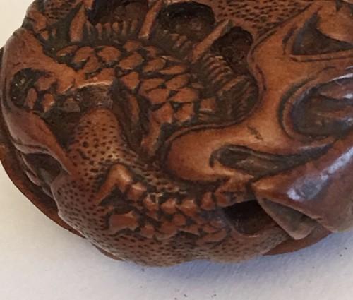 Antiquités - Netsuke d'un dragon et citrouille with a Masanao Signature